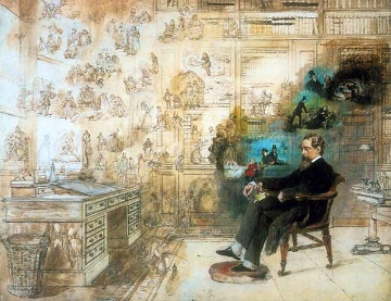 Dickens' Dream' painted 1875 by Robert William Buss, portraying Dickens at his desk at Gads Hill Place, surrounded by many of his characters. - Copy